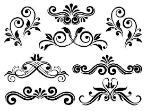 504x383 Victorian Swirls Scrolls Floral Flourish Waterslide Decal Pick