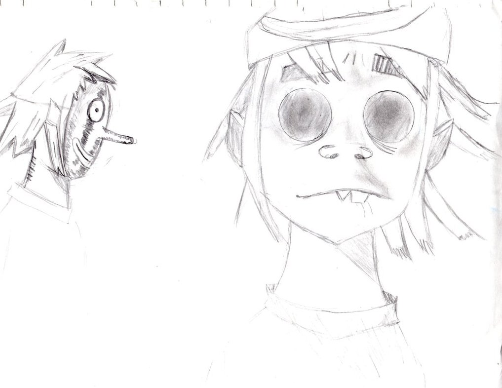 1017x786 2d From Gorillaz Pencil Sketch By Atomic Taco