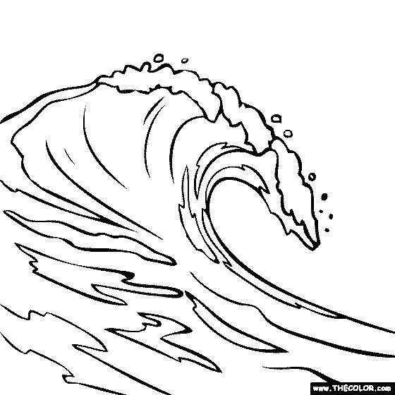 560x560 Breaking Wave Coloring Page Vague Drawings, Wave
