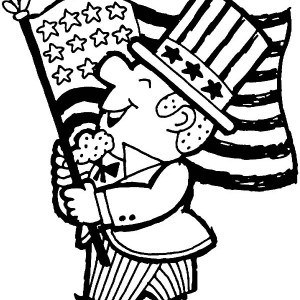 300x300 American Flag Waving On 4th July Independence Day Coloring Page