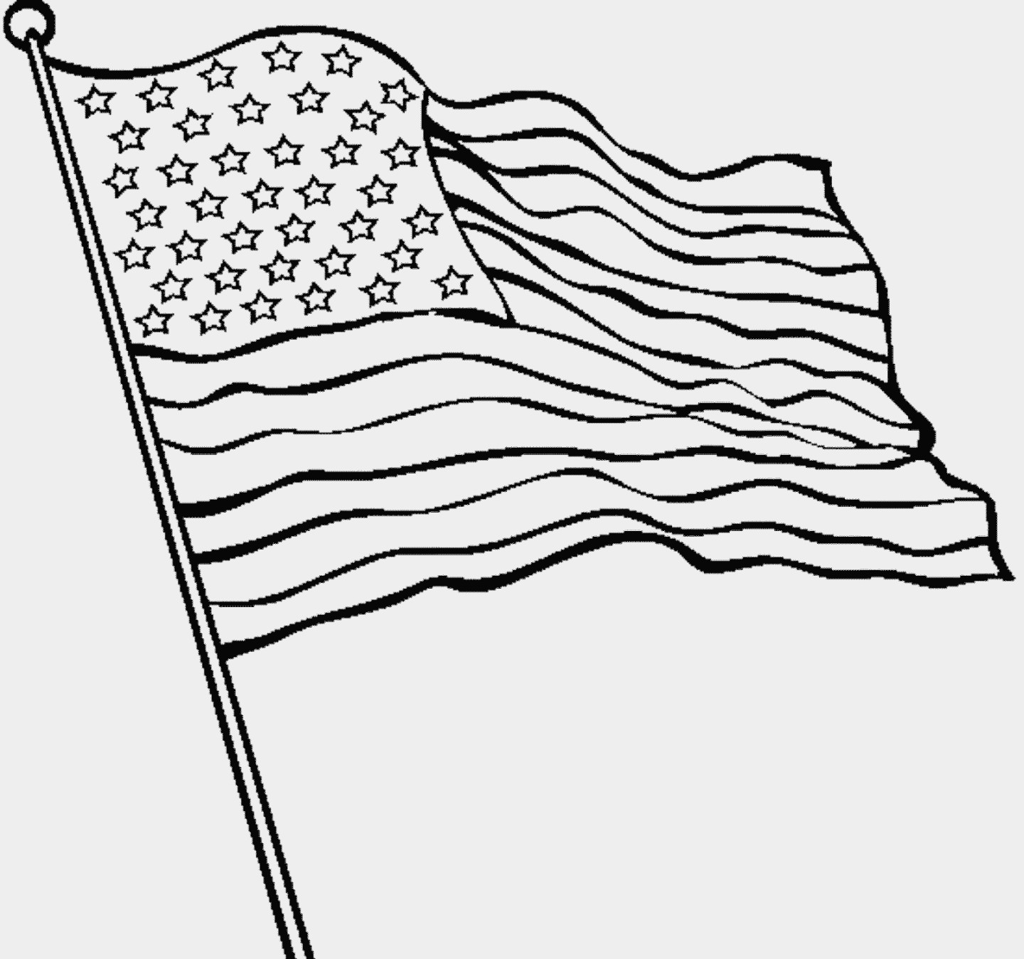 1440x1349 Lovely Waving American Flag Coloring Page