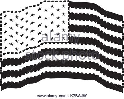 400x320 Usa Country Black Silhouette And With Flag On Background Stock