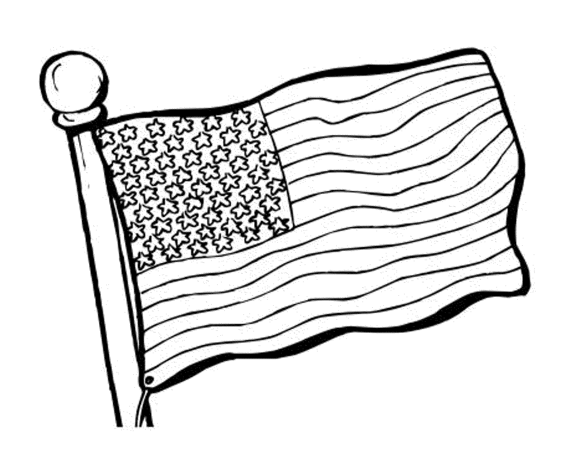 2000x1668 Waving American Flag Coloring Page