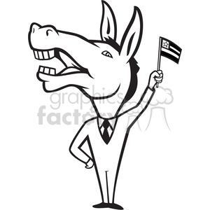 300x300 Royalty Free Black And White Donkey Democrat Waving Flag 388085