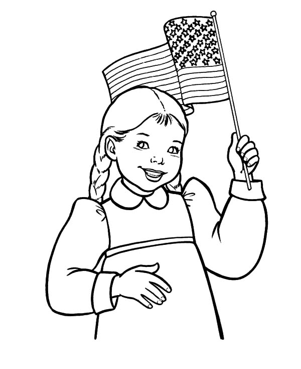 600x734 Smiling Girl Waving Flag On Day Coloring Pages