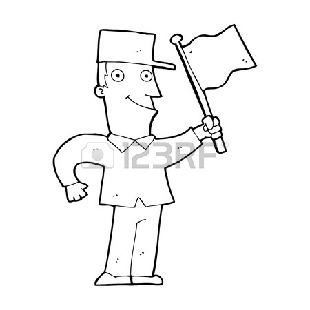 450x450 Cartoon Man Waving Flag Royalty Free Cliparts, Vectors, And Stock
