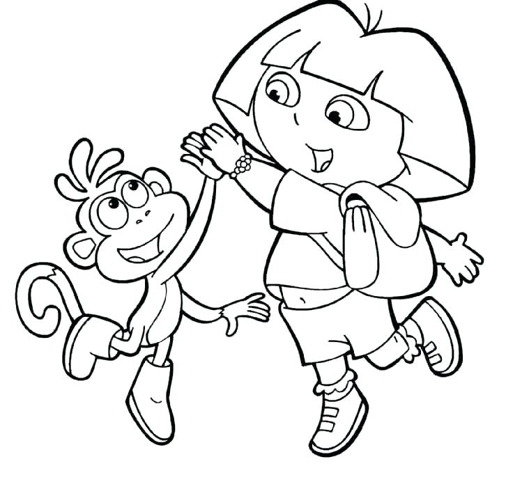 726x712 Dora And Boots Colouring Pages Printable In Snazzy Page Paint