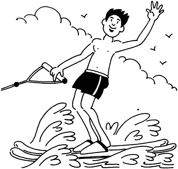 600x571 A Boy Waving Hand While Water Skiing Coloring Pages Batch Coloring