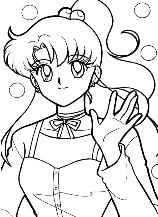 510x702 Sailor Moon Waving His Hand Coloring Page Kids Coloring Pages