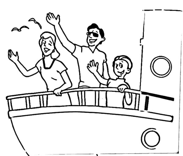 600x511 Saying Goodbye And Waving Hand On Cruise Ship Coloring Pages