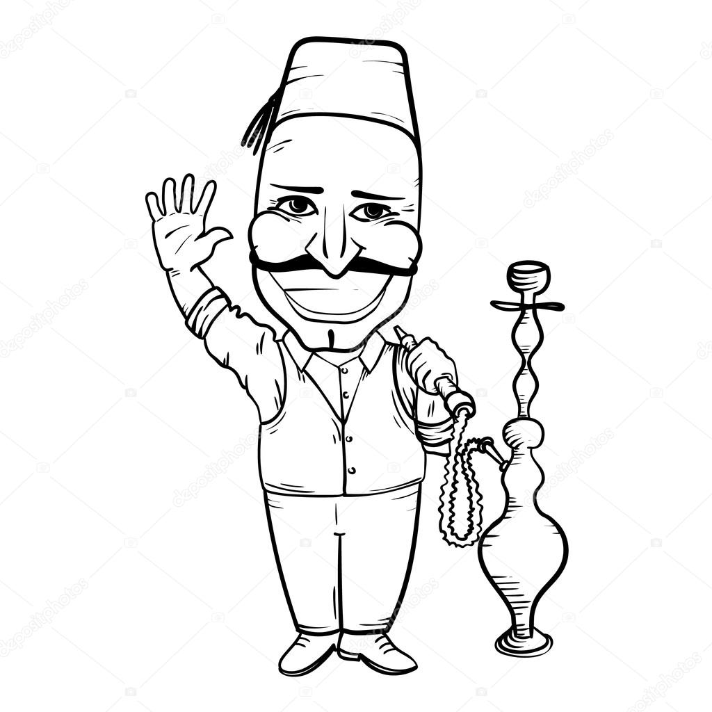 1024x1024 Turkish Man With Hookah Waving Hand Stock Vector Mikemihnevich