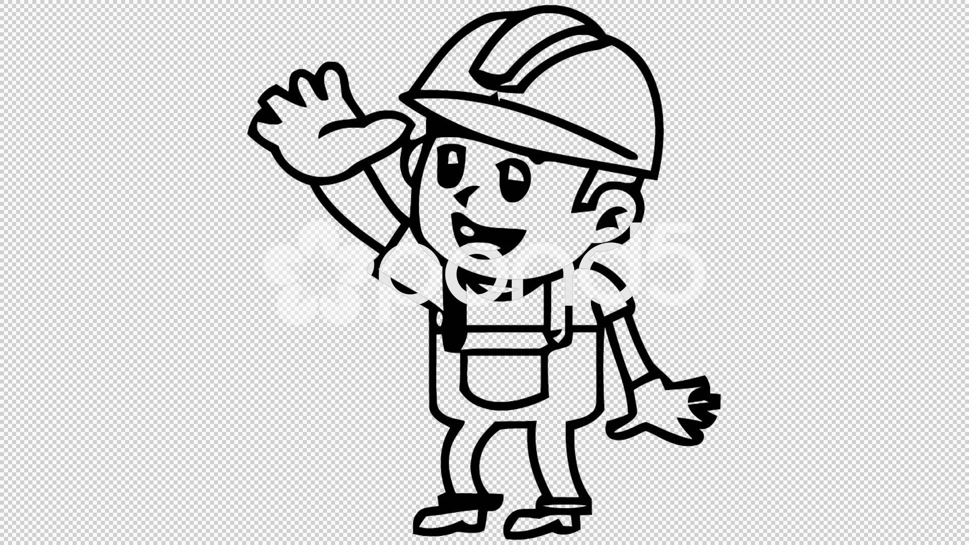 1920x1080 Video Man Waving Hand Cartoon Illustration Hand Drawn Animation