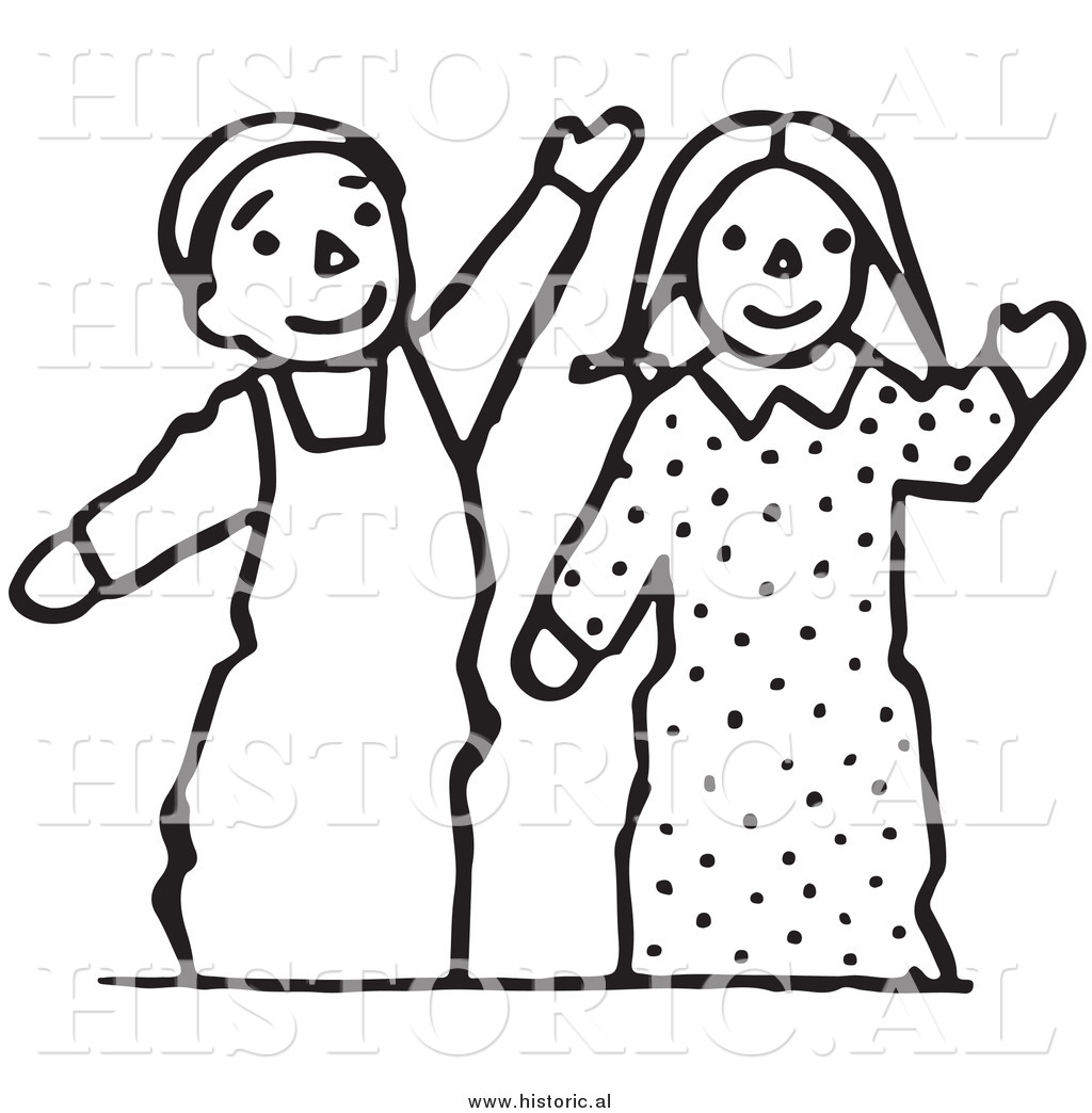 1024x1044 Clipart Of Waving Boy And Girl Puppets