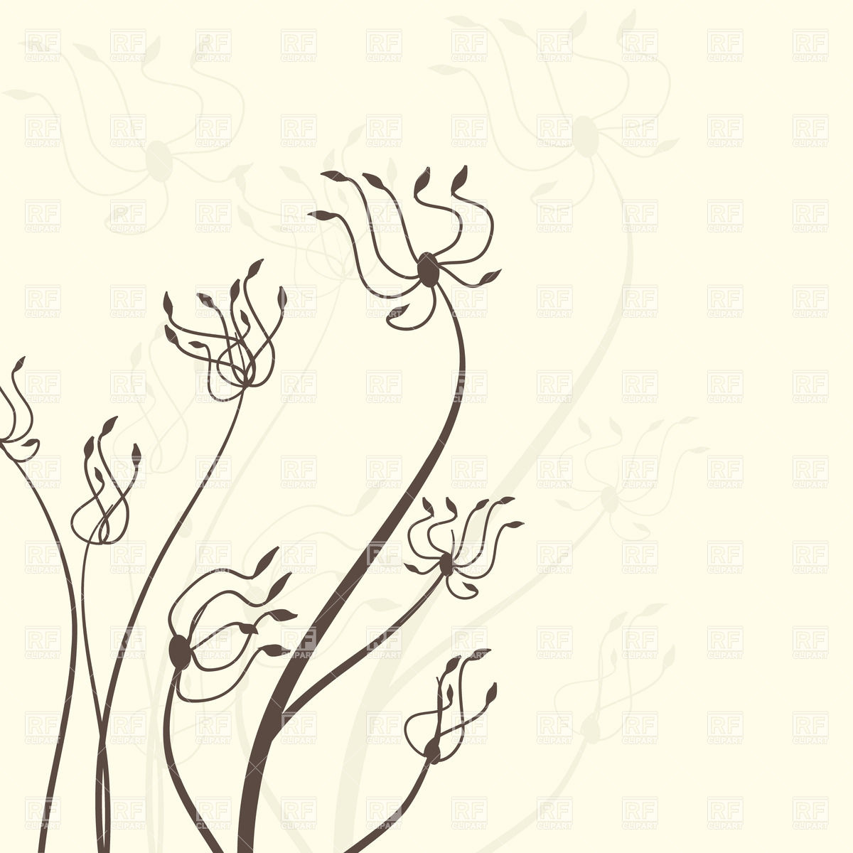 1200x1200 Abstract Wavy Hand Drawn Flowers Royalty Free Vector Clip Art