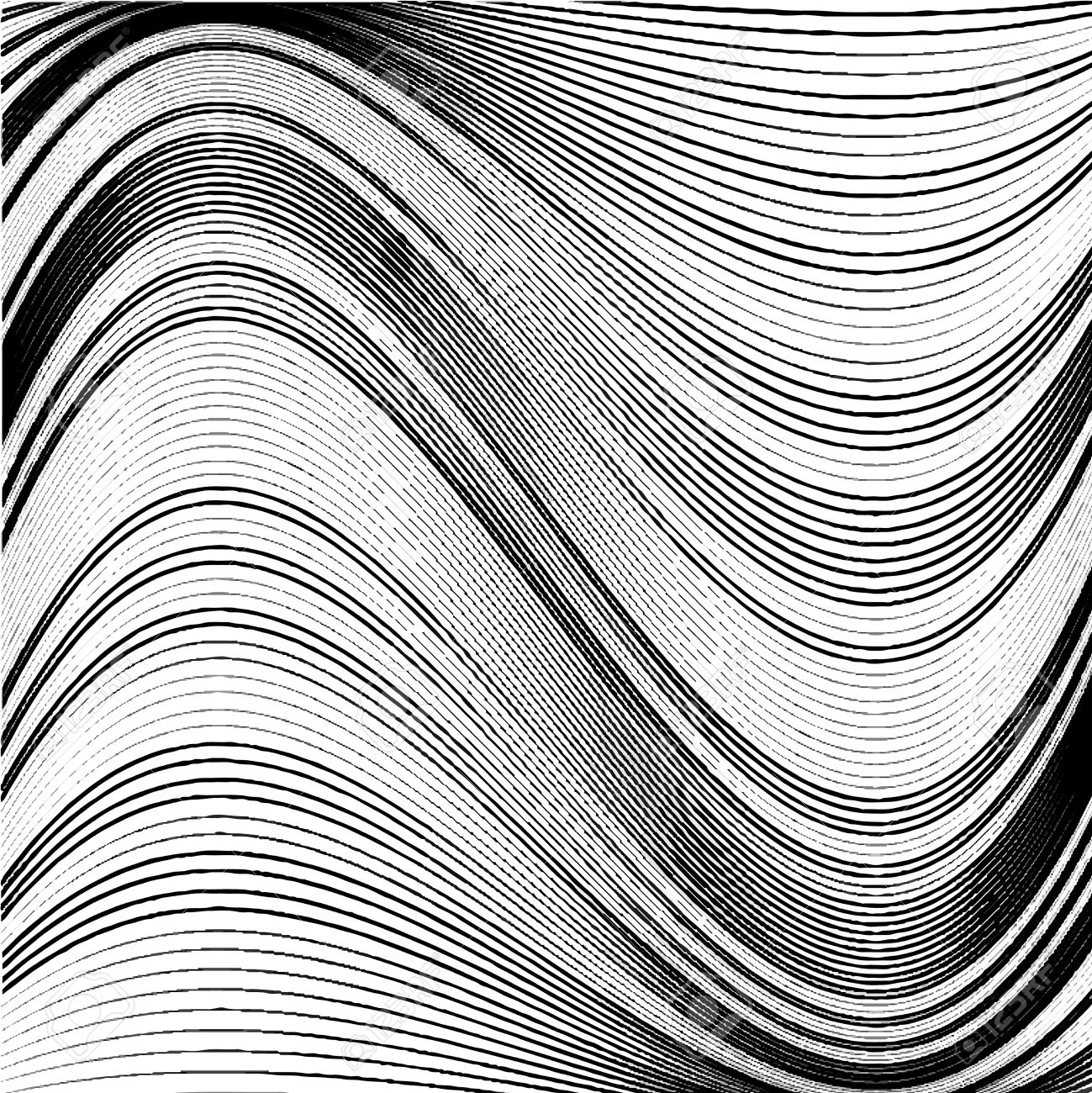 1299x1300 Abstract Background Of Wavy Lines. Black And White Vector