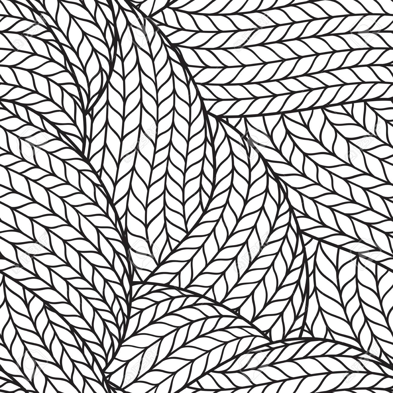 1300x1300 Abstract Monochrome Hand Drawn Abstract Seamless Pattern With Wavy