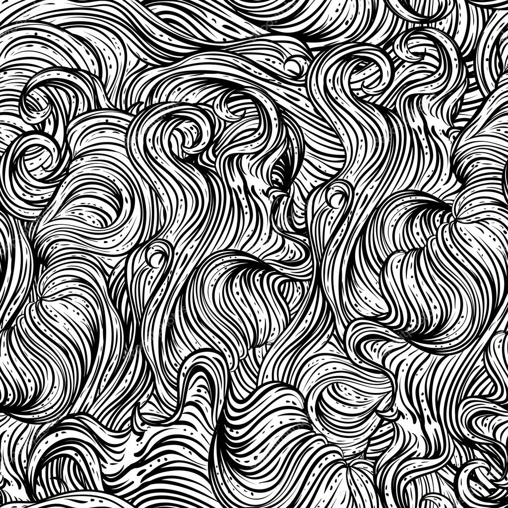 1024x1024 Abstract Seamless Pattern With Wavy Hair. Black And White Hand
