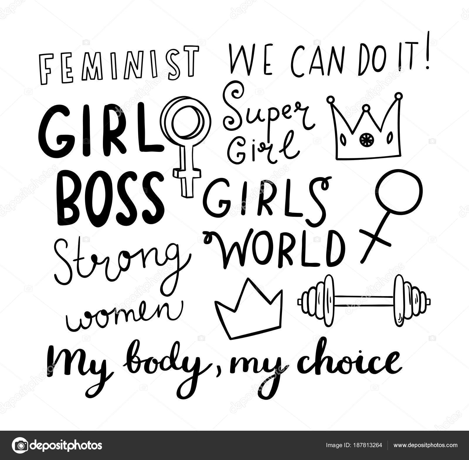 1600x1569 Feminist Hand Drawn Elements With Sketched Quotes Stock Vector