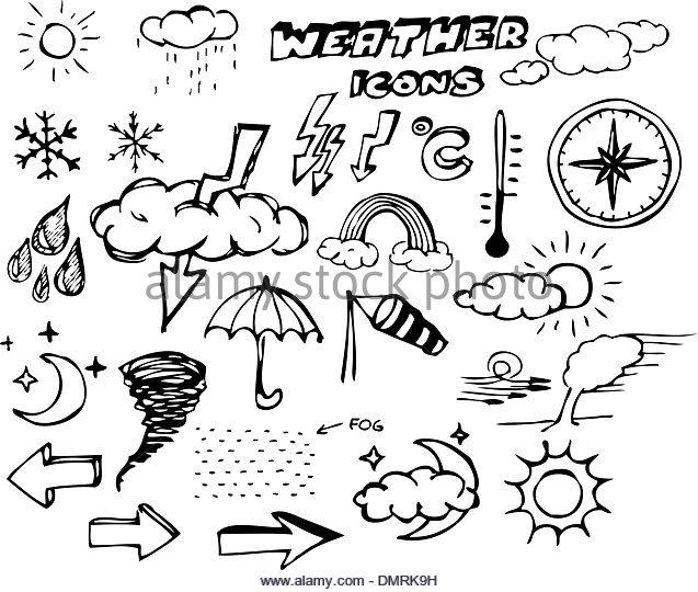 637x540 Doodle Weather Set Cloud Thunder Stock Photos Amp Doodle Weather Set