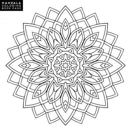 450x450 Outline Mandala For Coloring Book Decorative Round Ornament Anti