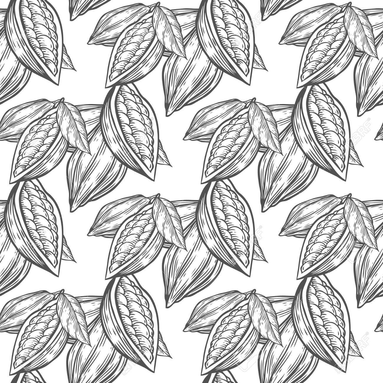 1300x1300 Cocoa, Cacao Beans Hand Drawn Sketch Seamless Vector Pattern