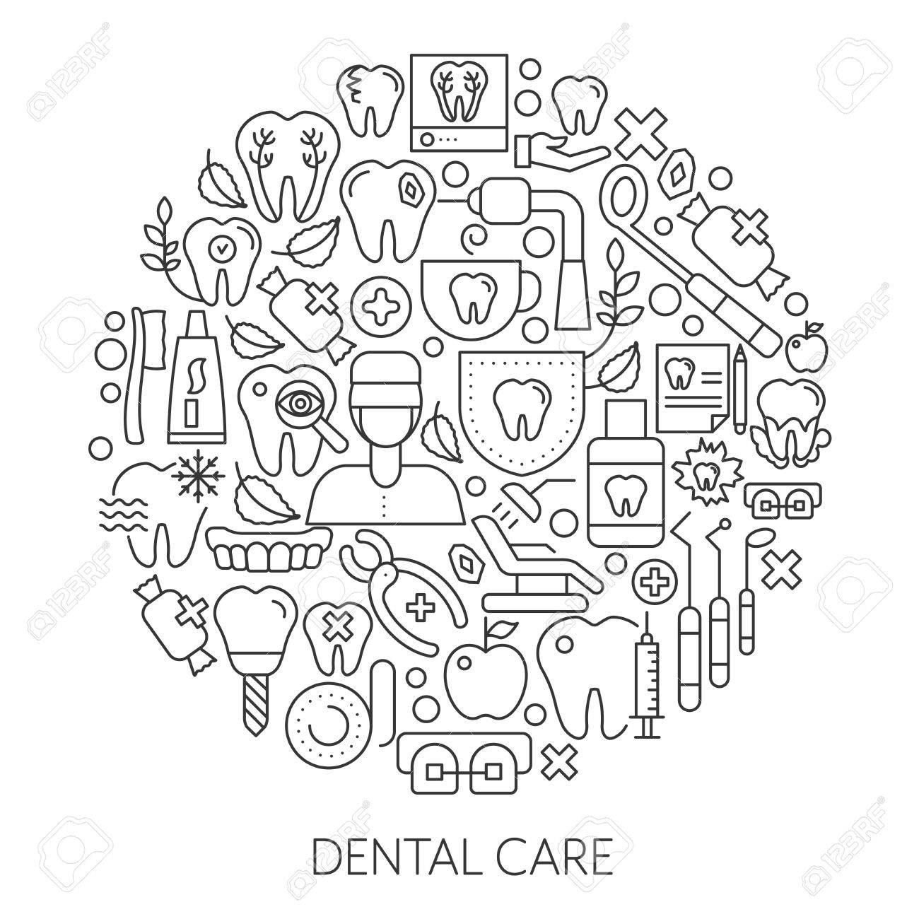 1300x1300 Dental Care Web Design Concept. Line Icons For Website And Landing