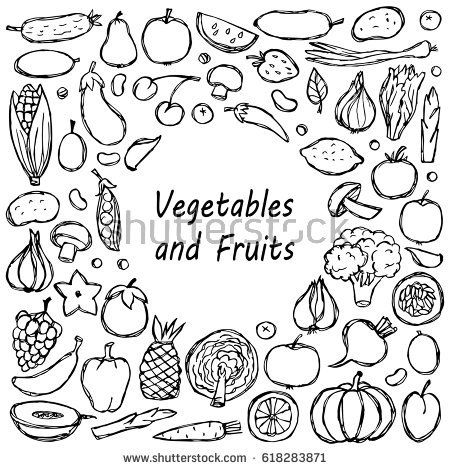 450x470 Frame From Vegetarian Hand Drawn Doodle Food Elements. Vector
