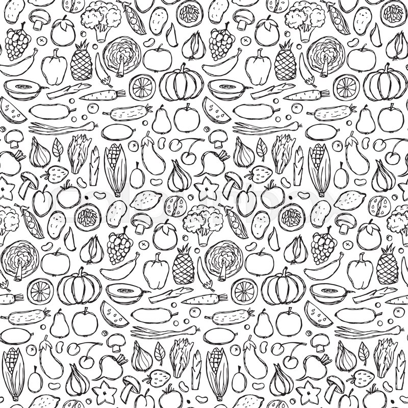 800x800 Seamless Pattern Of Vegetarian Hand Drawn Doodle Food Elements