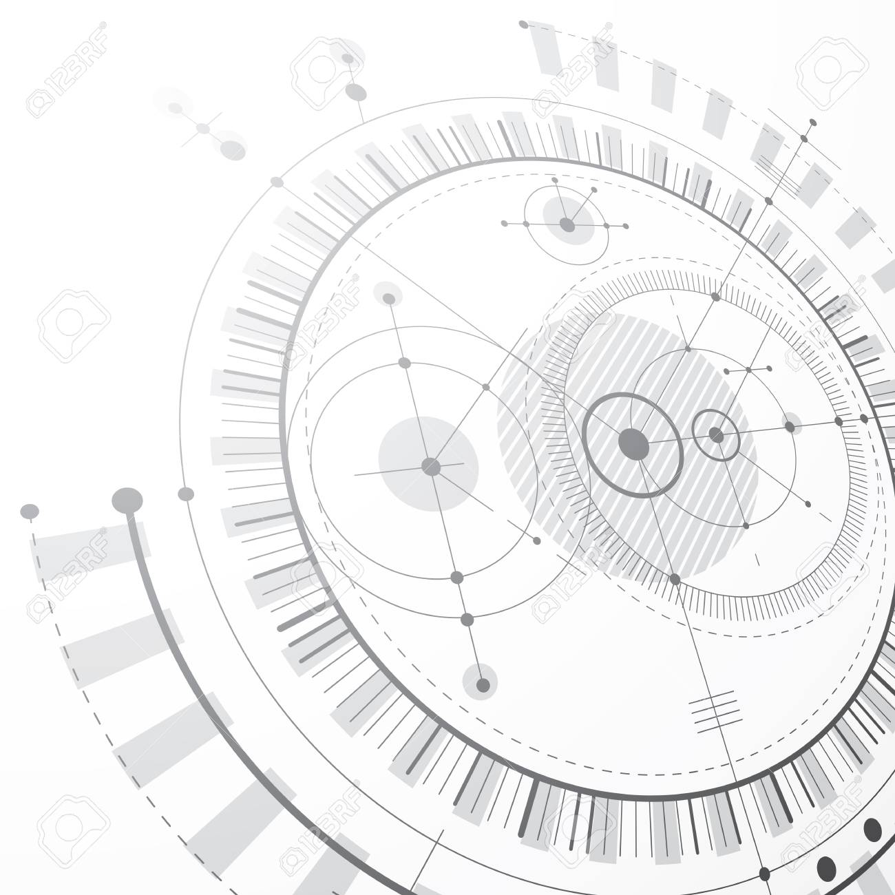 1300x1300 Technical Plan, Black And White Abstract Engineering Draft