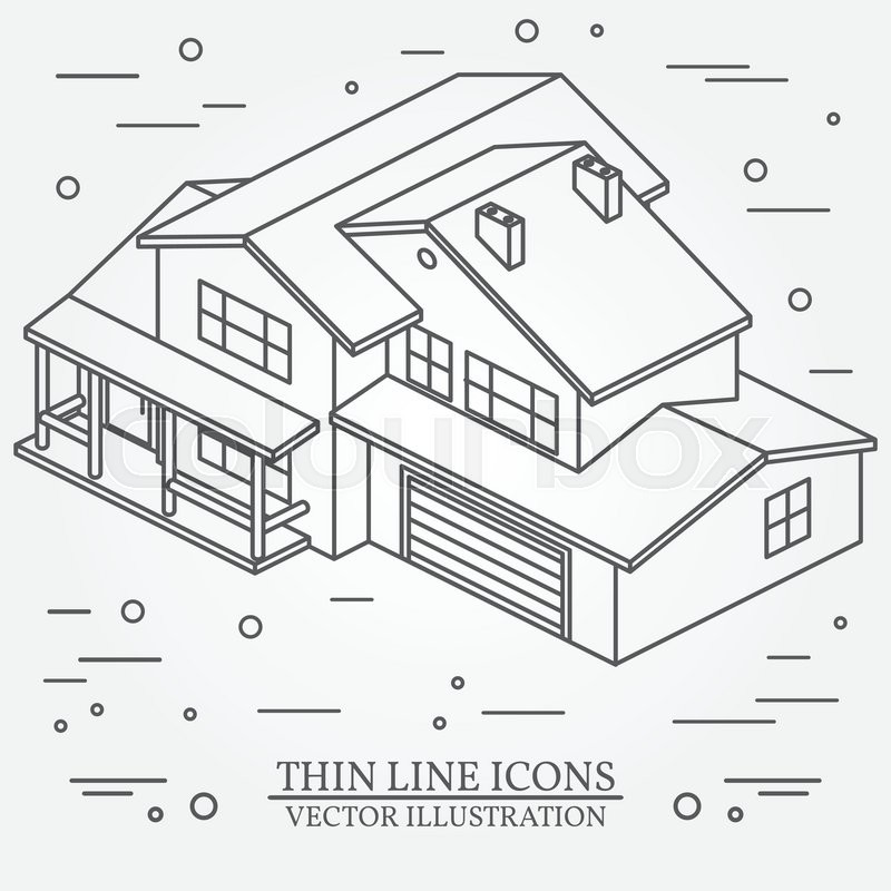 800x800 Vector Thin Line Icon Isometric Suburban American House. For Web