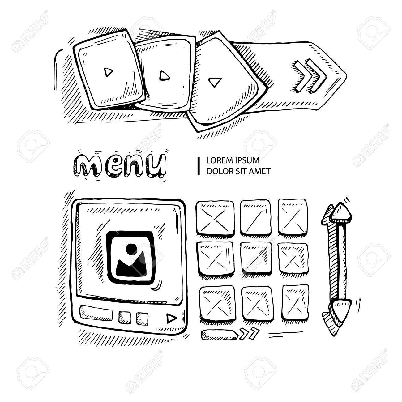 1300x1300 Wireframe Ui Kit. Web Design Portfolio Sketch Elements Isolate