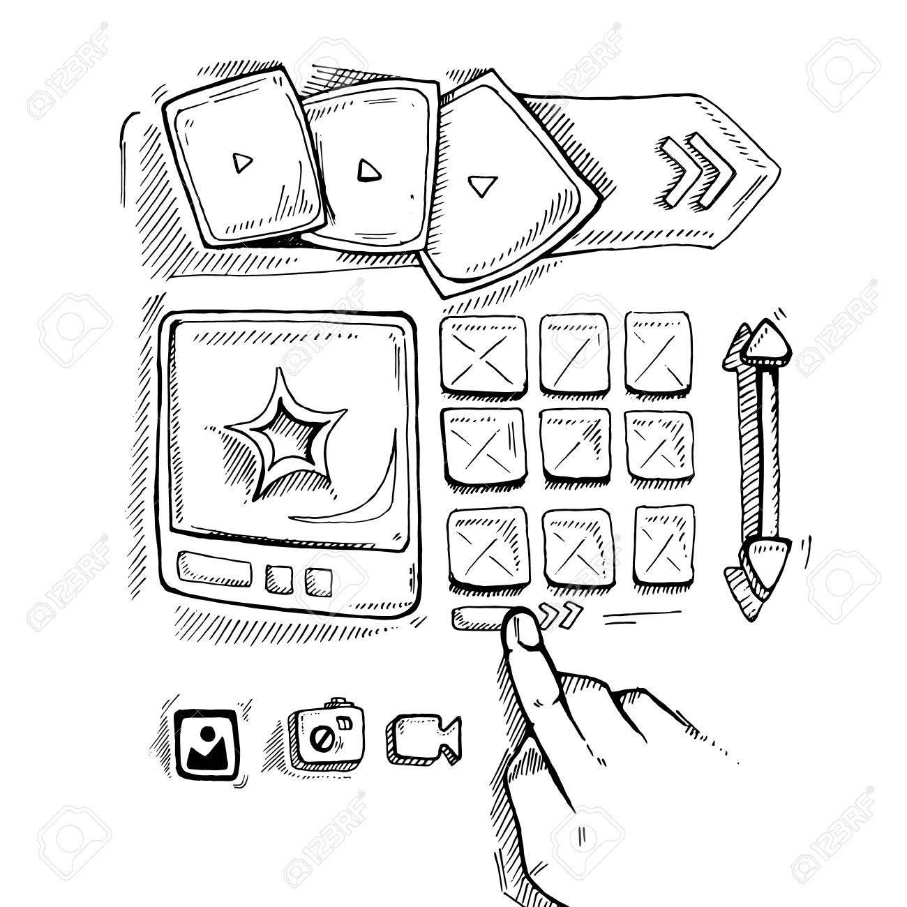 1300x1300 Wireframe Ui Kit. Web Design Portfolio Sketch Elements. Hand
