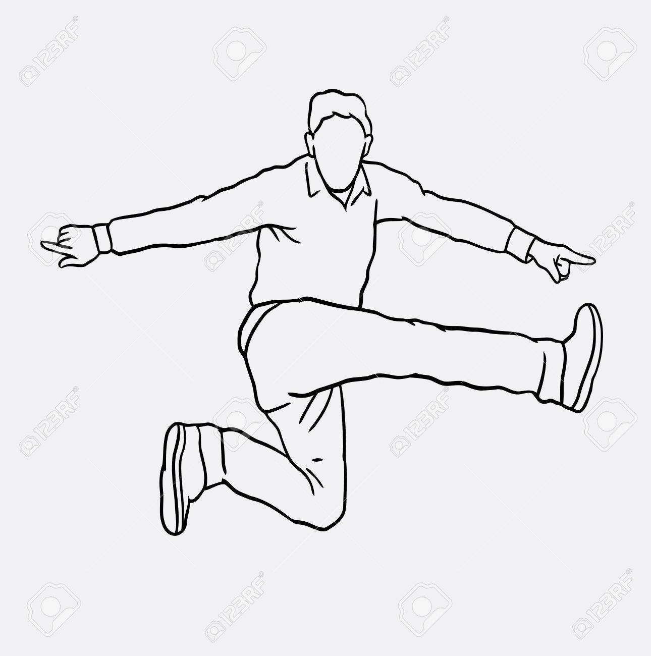 1290x1300 Man Jumping Sketch Vector. Male Activity Drawing. Good Use