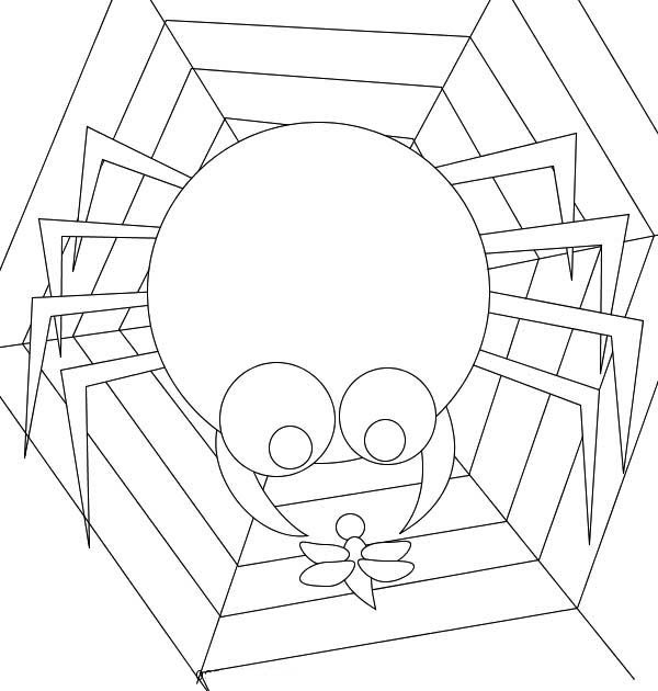 600x630 Cartoon Of Spider Eating Insect On Web Coloring Page