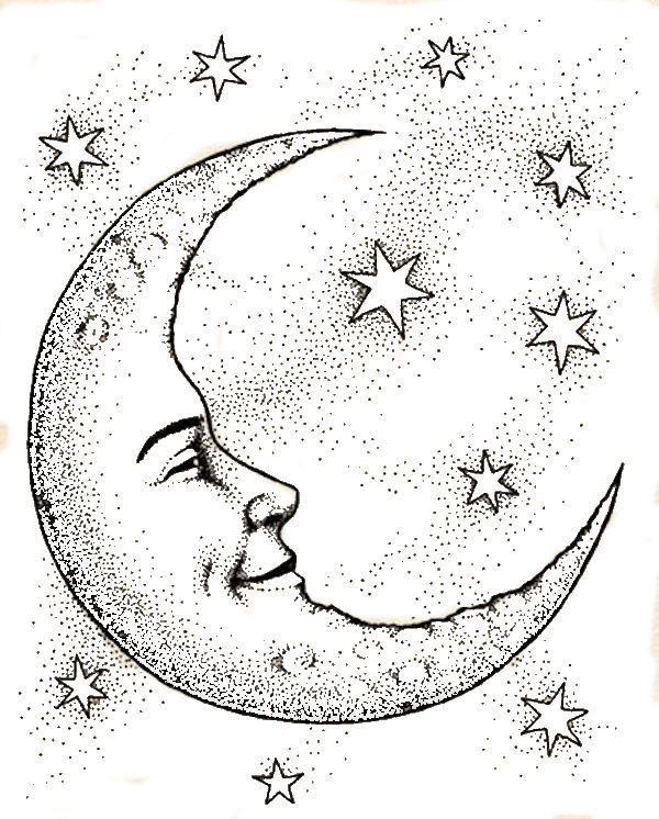 600x746 Crescent Moon Face Amp Stars Coloring Page