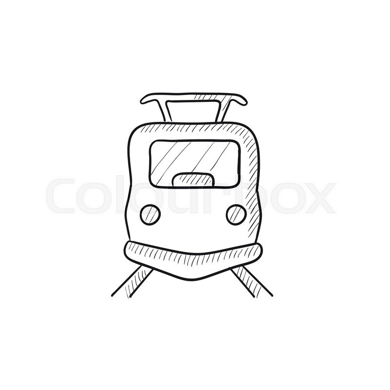 800x800 Front View Of Train Vector Sketch Icon Isolated On Background