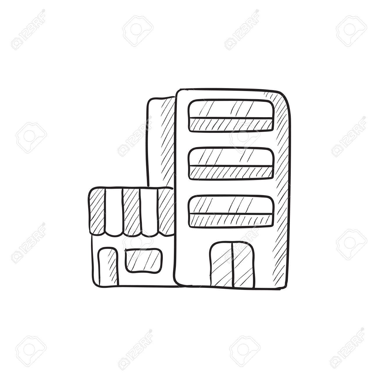 1300x1300 Hotel Building Vector Sketch Icon Isolated On Background. Hand