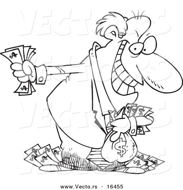 600x620 Vector Of A Cartoon Greedy Rich Businessman Holding His Money
