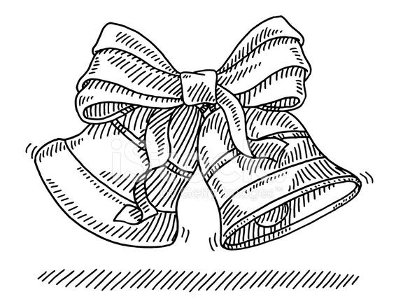 566x440 Christmas Bells Ribbon Drawing Stock Vector