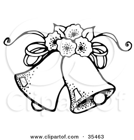 450x470 Clipart Illustration Of Two Wedding Bells With Flowers By C