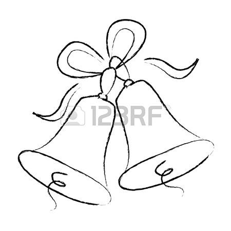 450x450 Illustration Of A Elegant Black Color Wedding Bells With Ribbons