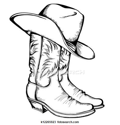 500x520 Easy Cowboy Pencil Coloring Of Hat And Boots With A Big Belt