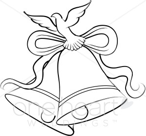 300x280 Illustration Of A Dove And Two Bells Tied With A Ribbon Wedding