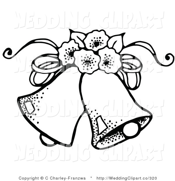 600x620 Vector Marriage Clipart Of Black And White Wedding Bells