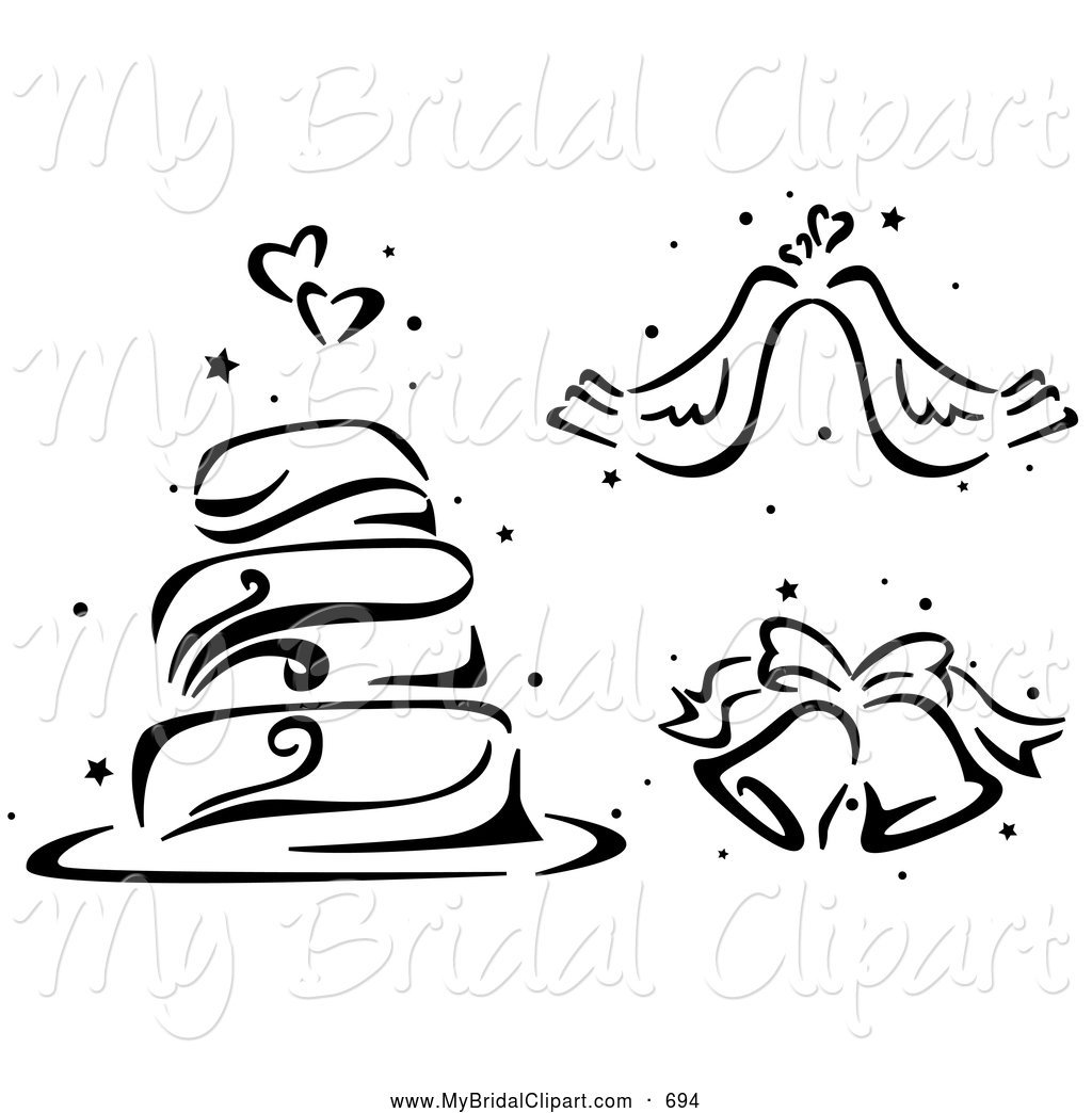 1024x1044 Bridal Clipart Of A Black And White Stenciled Wedding Cake, Doves