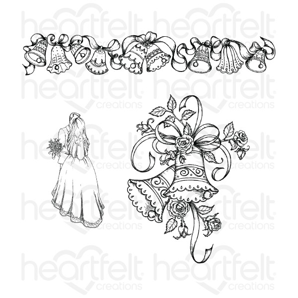 600x600 Classic Wedding Bells Cling Stamp Set