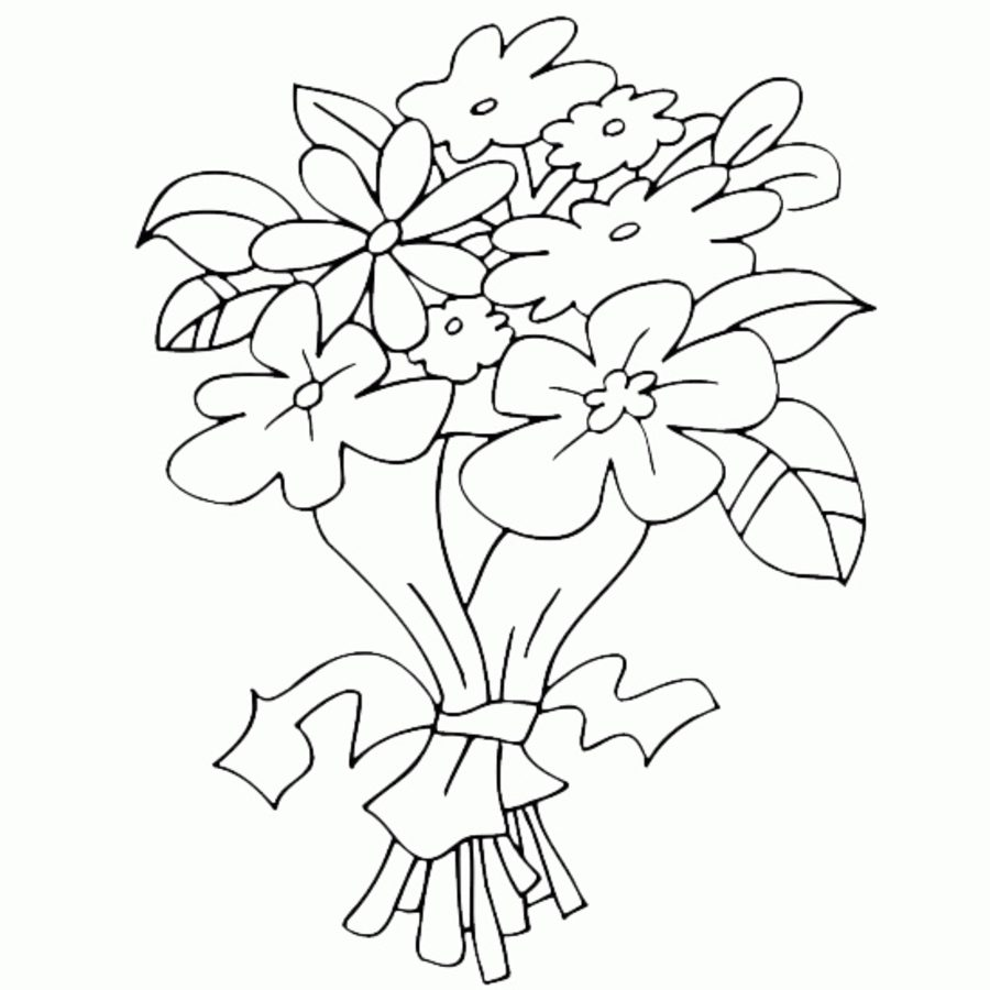 900x900 Coloring Pages Wedding Bouquet, Printable For Kids Amp Adults, Free