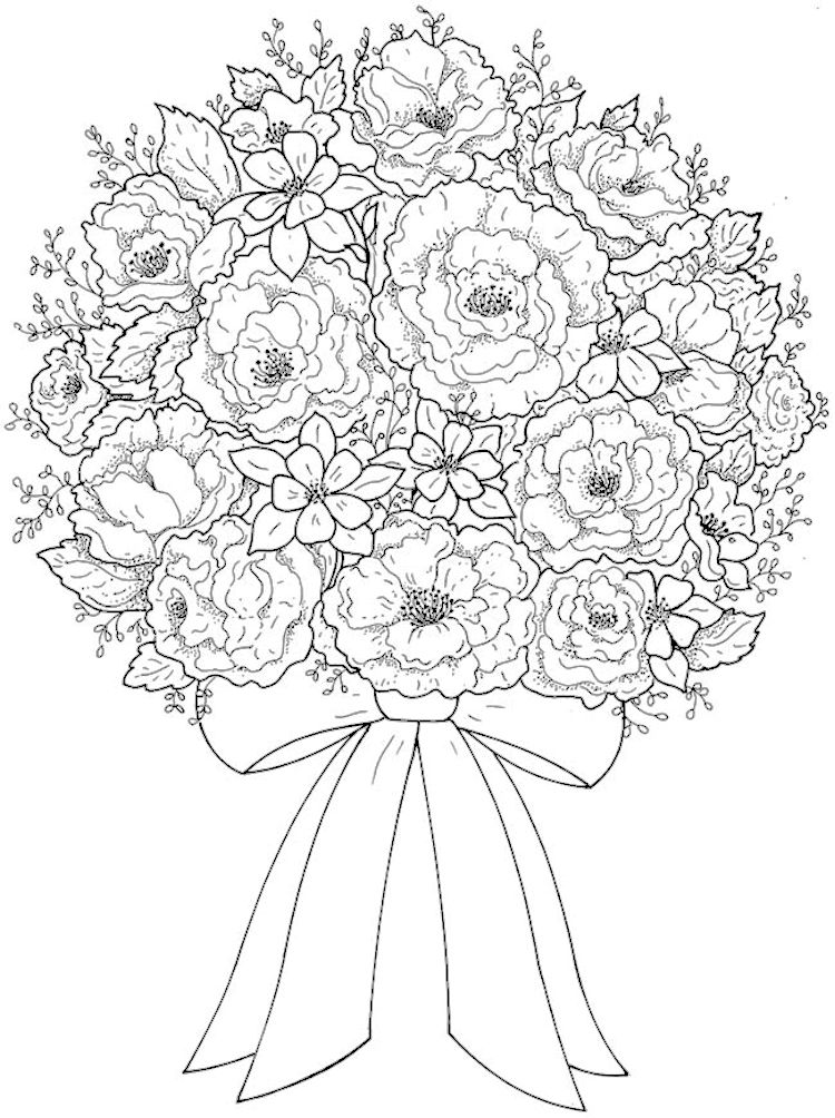750x1004 Creative Haven Beautiful Flower Arrangements Coloring Page 4