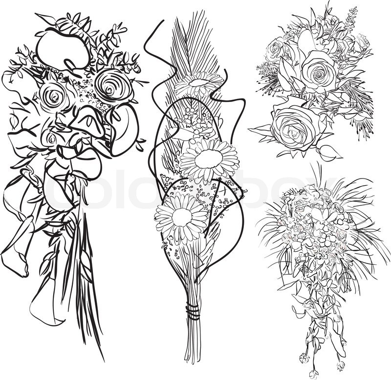 800x779 Doodle Wedding Bouquet Set