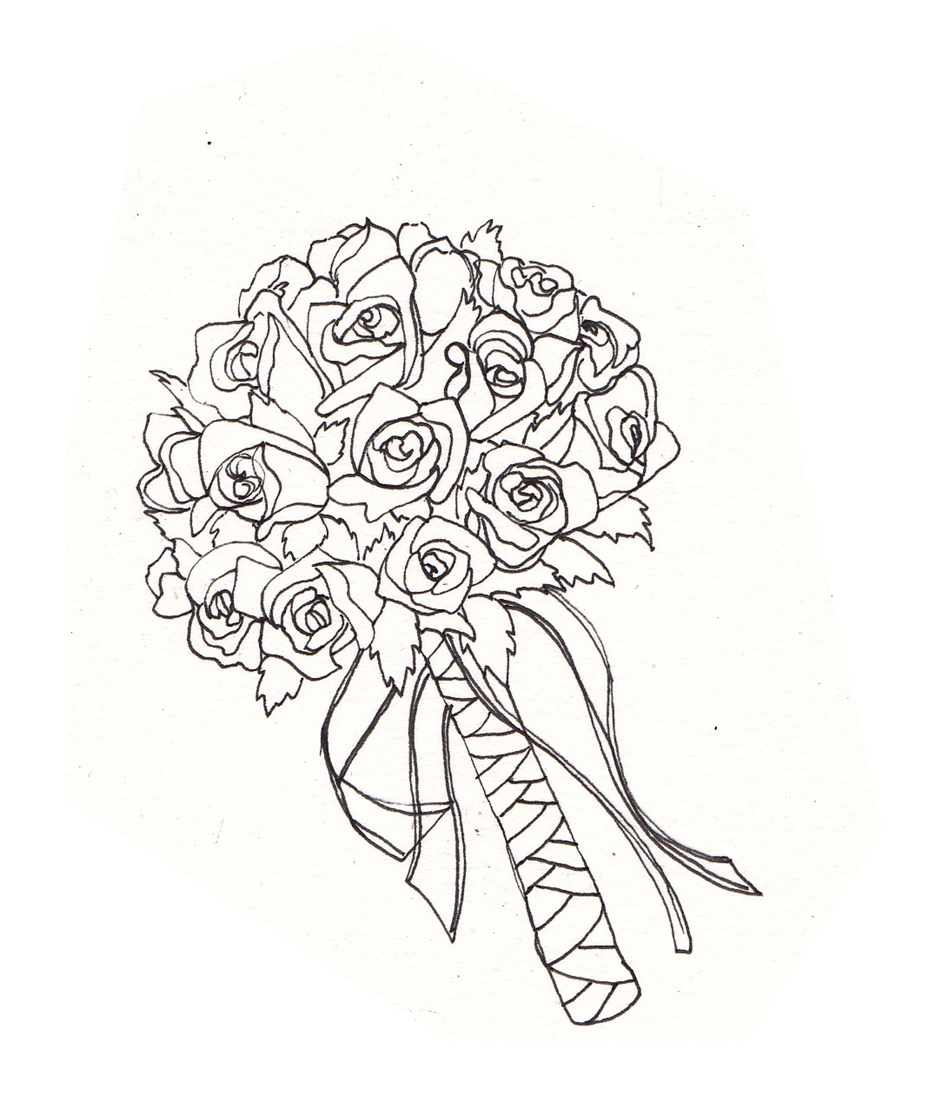 1332x1592 Drawn Bouquet Wedding Bouquet